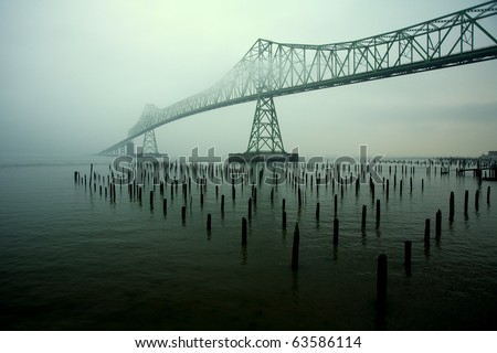 Steel Lattice Bridge to Nowhere - stock photo