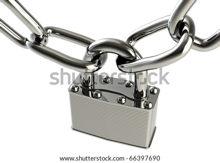 Steel lock and chain isolated against a white backdrop