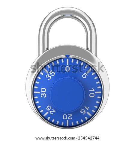 Steel lock. 3d illustration isolated on white background  - stock photo
