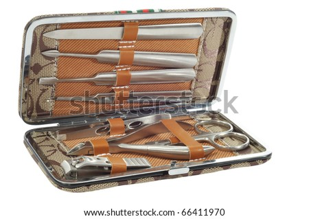 Steel manicure tools isolated with clipping path - stock photo