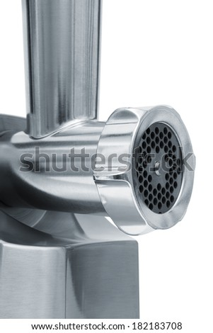 steel meat grinder on a white background