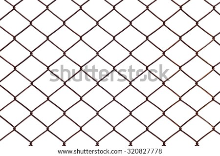 Steel mesh rusty isolated on white background.