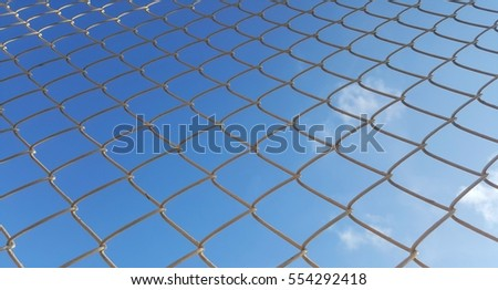 steel mesh with blue sky background