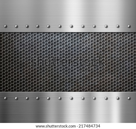 steel metal background with rivets - stock photo