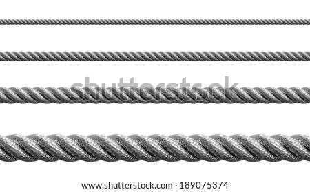 Steel metal hawser set isolated - stock photo