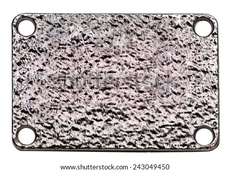 steel metal plate isolated on white. metal signboard texture with screws  - stock photo