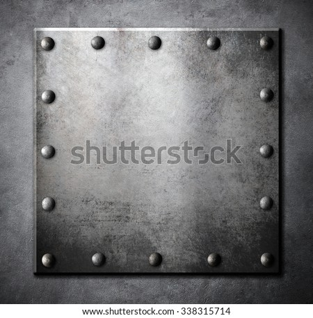 steel metal square plate or hatch with rivets  - stock photo