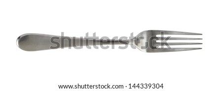 Steel metal table fork isolated over white background - stock photo