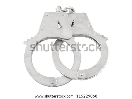 Steel metallic handcuffs isolated on white background - stock photo