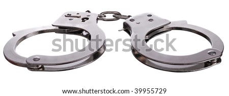 steel metallic handcuffs (manacles) isolated on white background - stock photo