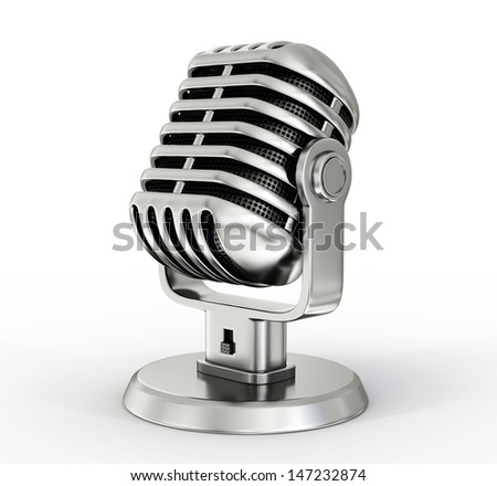 steel microphone isolated on a white background - stock photo