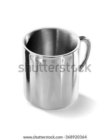 Steel mug isolated on white background - stock photo