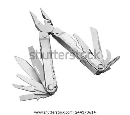 Steel multitool isolated on white background - stock photo