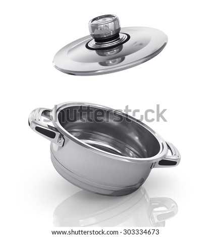Steel pan with open cap on the white background.