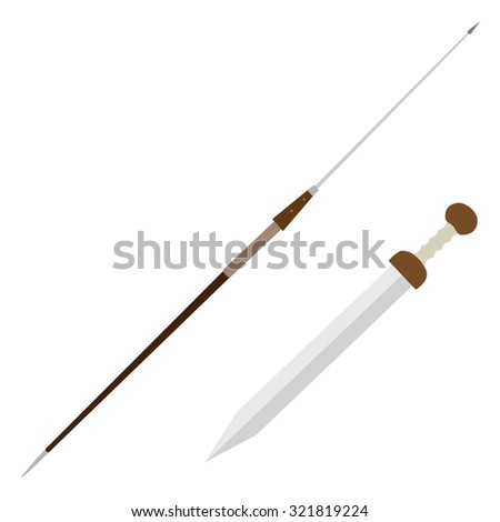 Steel pilum, spear and gladius antique weapon raster isolated  - stock photo