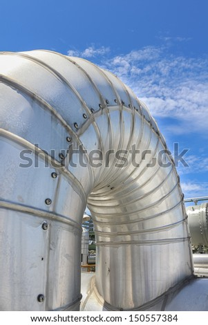 Steel pipe line with blue sky in sunny day
