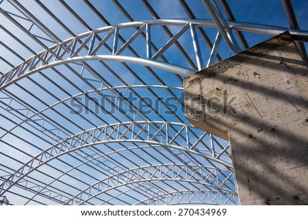 Steel Pipe Truss Metal Sheet Roofing Stock Photo Royalty