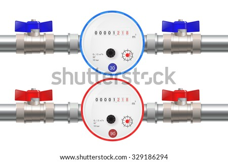 Steel Pipe with Water meter, Hot and Cold water counter and ball valve. Illustration isolated on white background. Raster version. - stock photo