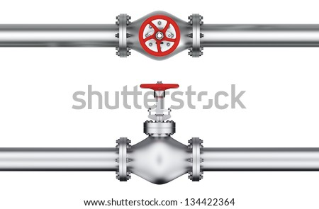 Steel pipeline with red valve, top view and side-view - stock photo