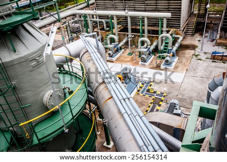 steel pipelines and pumps in plant - stock photo