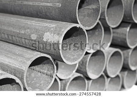 Steel pipes. - stock photo