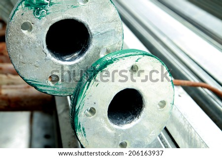 Steel pipes bunch in warehouse