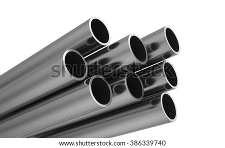 Steel Pipes on a white background.  - stock photo
