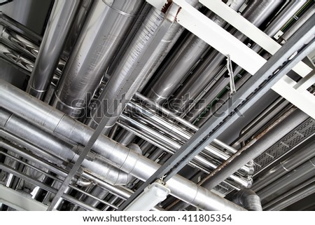 Steel pipework close up - stock photo