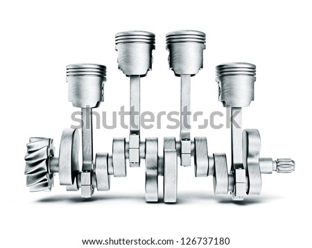 steel pistons isolated on a white background - stock photo