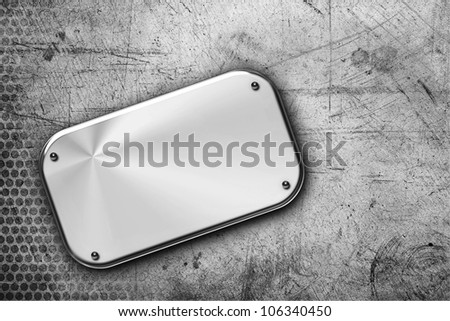 Steel plaque on grunge background - stock photo