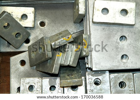 Steel plates bunch in the pallets  before shipment - stock photo
