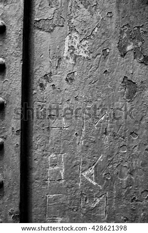 steel plates with rivets - stock photo