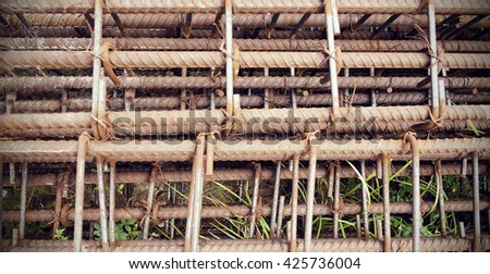 steel poles for construction - stock photo