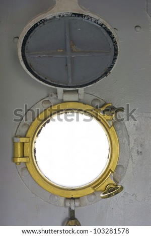 Steel porthole of ship - stock photo