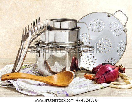 steel pots selection and kitchen utensils