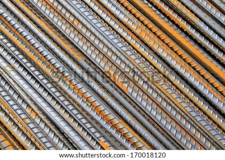 steel rebar in a construction site in a construction site  - stock photo