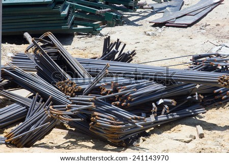 steel rebar in a construction site in a construction site