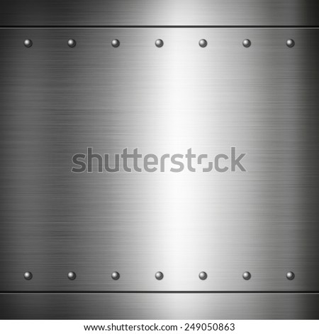 Steel riveted brushed plate background texture. Metal frame background