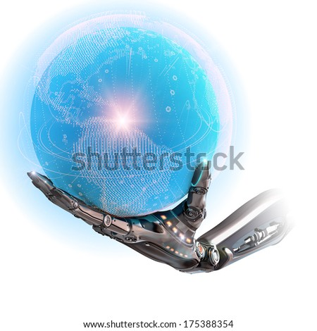 Steel robotic android hands holding blue digital shining earth globe as futuristic sci-fi technology design concept on white background - stock photo
