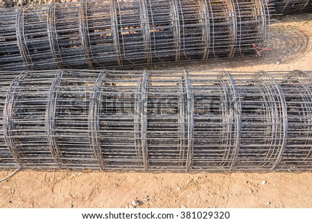 Steel rods for securing steel bars and wire rod for reinforcement of concrete at construction site. - stock photo