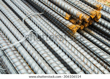 Steel rods or bars used to reinforce concrete. abstract macro with shallow depth of field. - stock photo