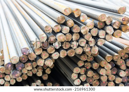 Steel rods used to reinforce concrete, macro with shallow depth of field.  - stock photo