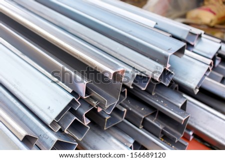 steel roof for home construction job - stock photo