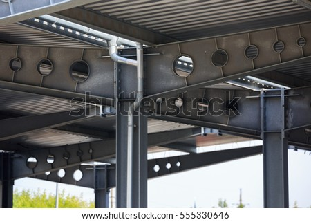 Steel Roof Frame Industrial Warehouse Stock Photo (Royalty Free ...