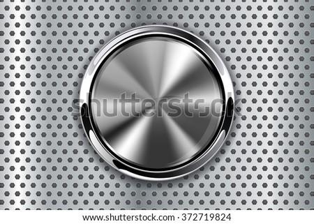 Steel round button on metal background, web icon with chrome frame.  Illustration. Raster version. - stock photo