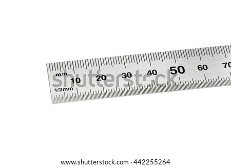 Steel ruler close-up, isolated on white background