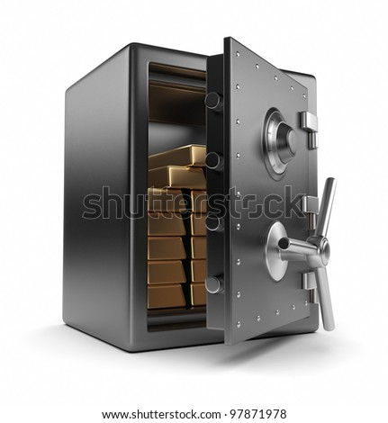 Steel safe box and gold 3D. Protection concept. Isolated on white background - stock photo