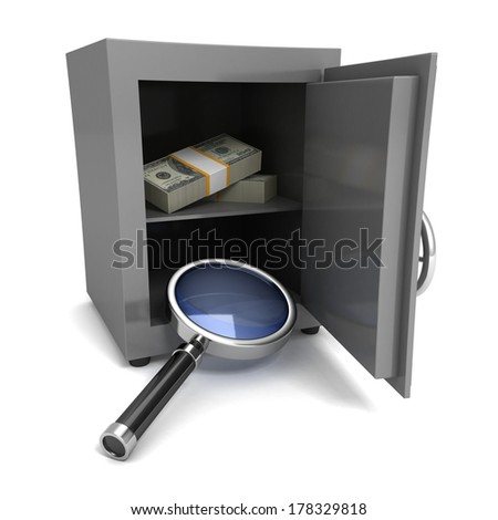 Steel safe box money protection of finance concept - stock photo