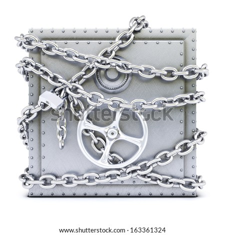 steel safe in chains. isolated on white background. - stock photo