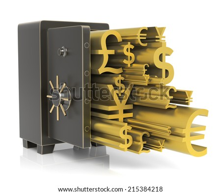 Steel safe with Gold Currency Sign. Isolated on white. High resolution 3D rendering - stock photo